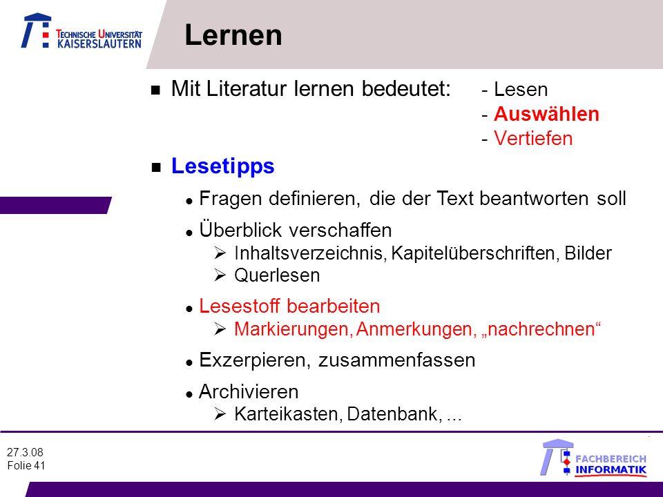 Lernen Mit Literatur lernen bedeutet: - Lesen - Auswählen - Vertiefen