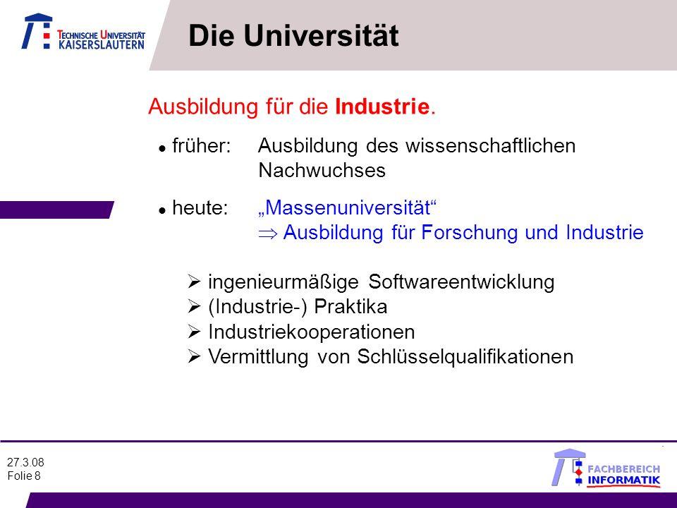 Die Universität Ausbildung für die Industrie.