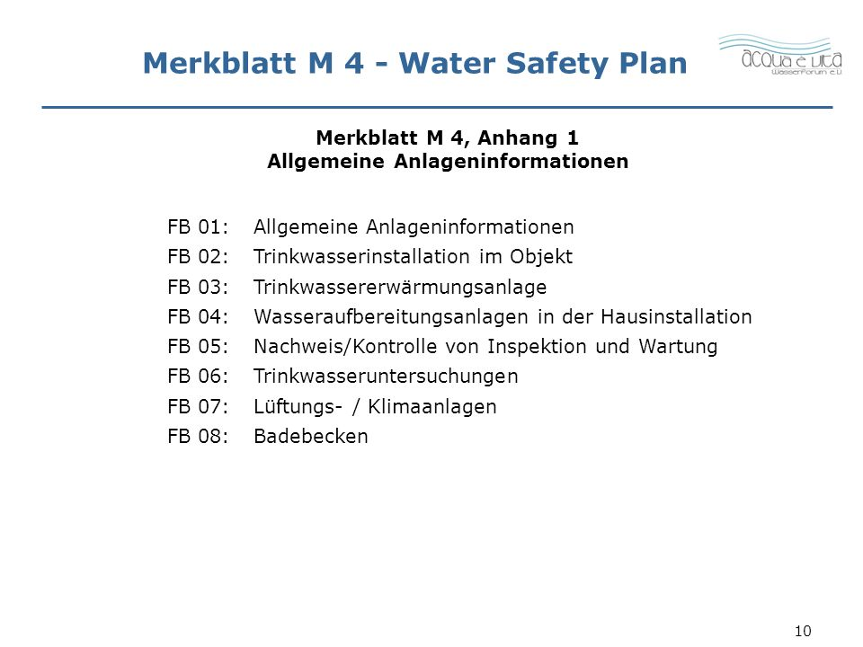 Merkblatt M 4 - Water Safety Plan
