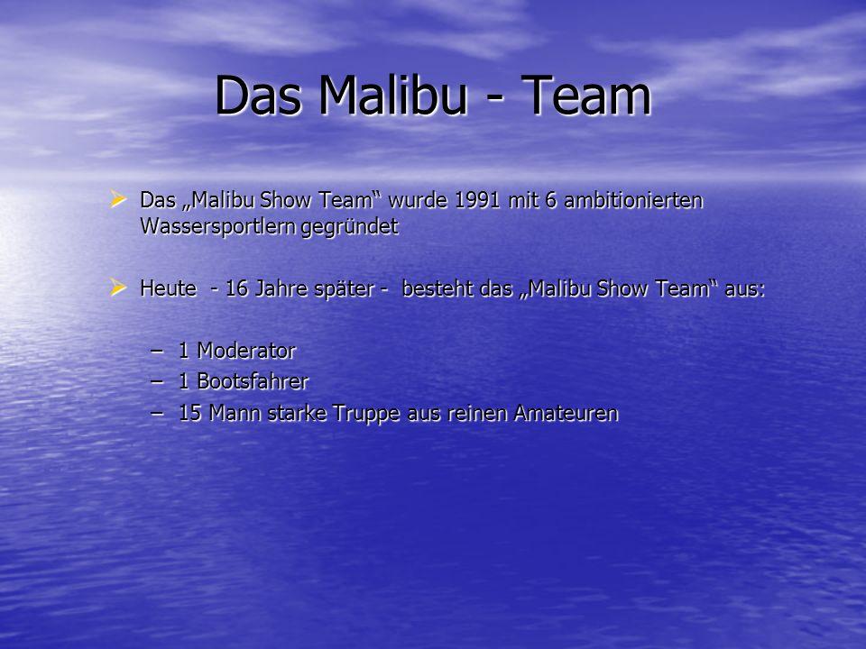 """Das Malibu - Team Das """"Malibu Show Team wurde 1991 mit 6 ambitionierten Wassersportlern gegründet."""