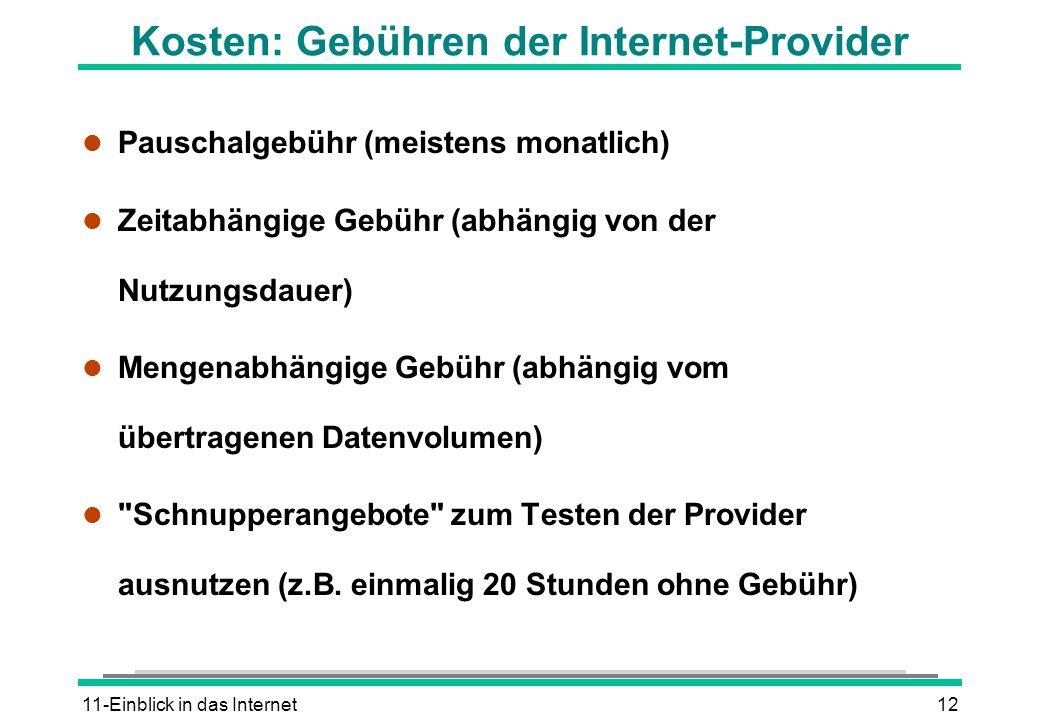 Kosten: Gebühren der Internet-Provider