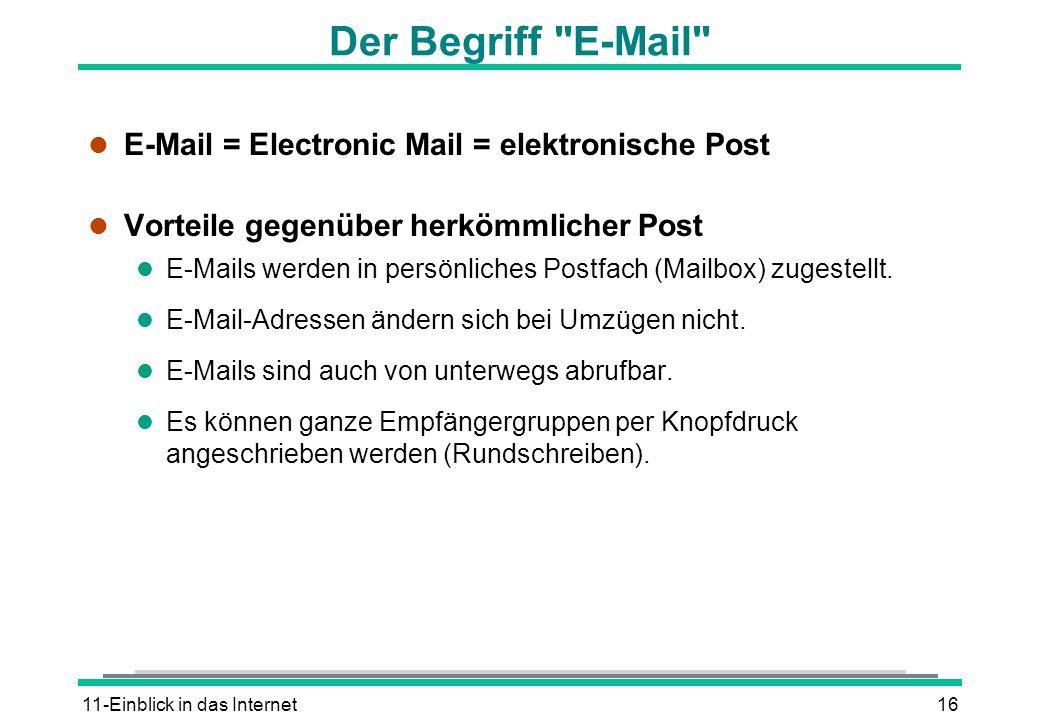 Der Begriff E-Mail E-Mail = Electronic Mail = elektronische Post