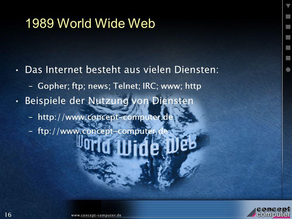 1989 World Wide Web Das Internet besteht aus vielen Diensten: