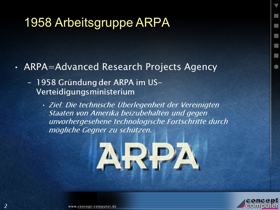 1958 Arbeitsgruppe ARPA ARPA=Advanced Research Projects Agency