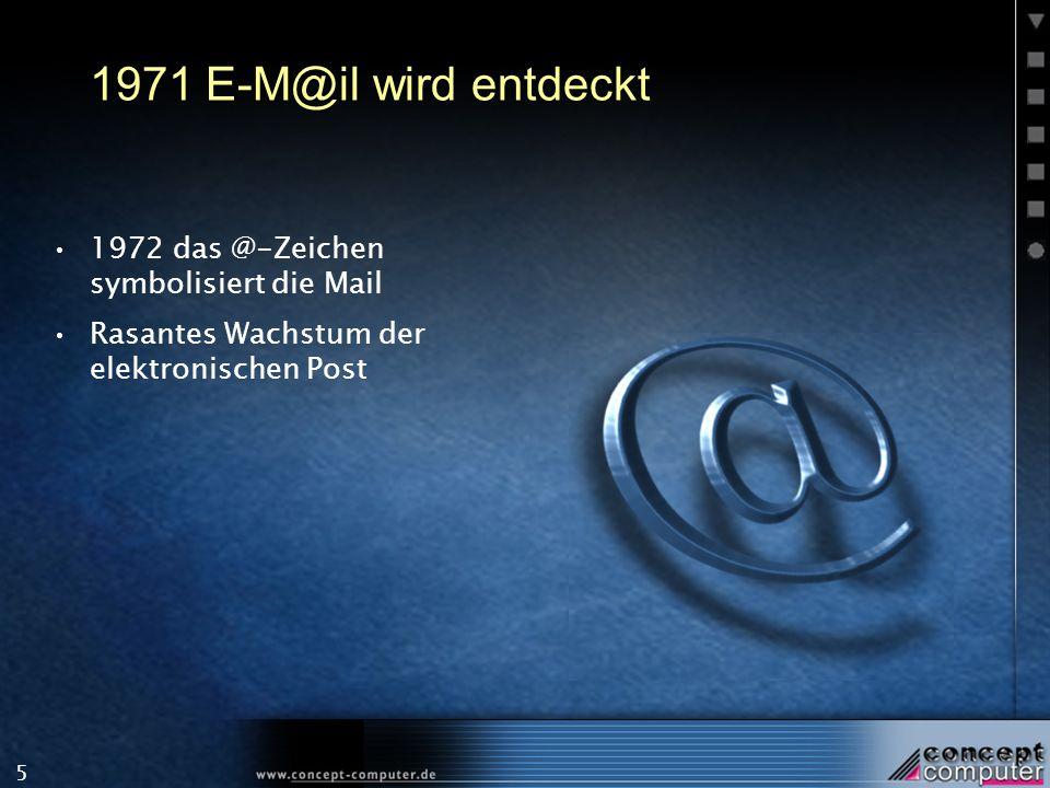 1971 E-M@il wird entdeckt 1972 das @-Zeichen symbolisiert die Mail