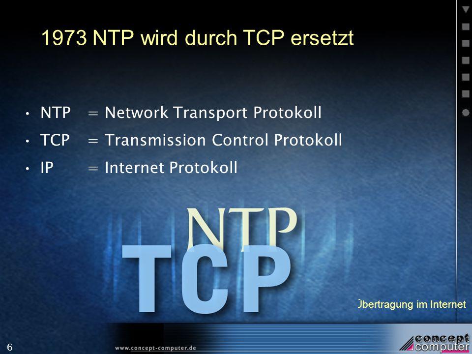 1973 NTP wird durch TCP ersetzt