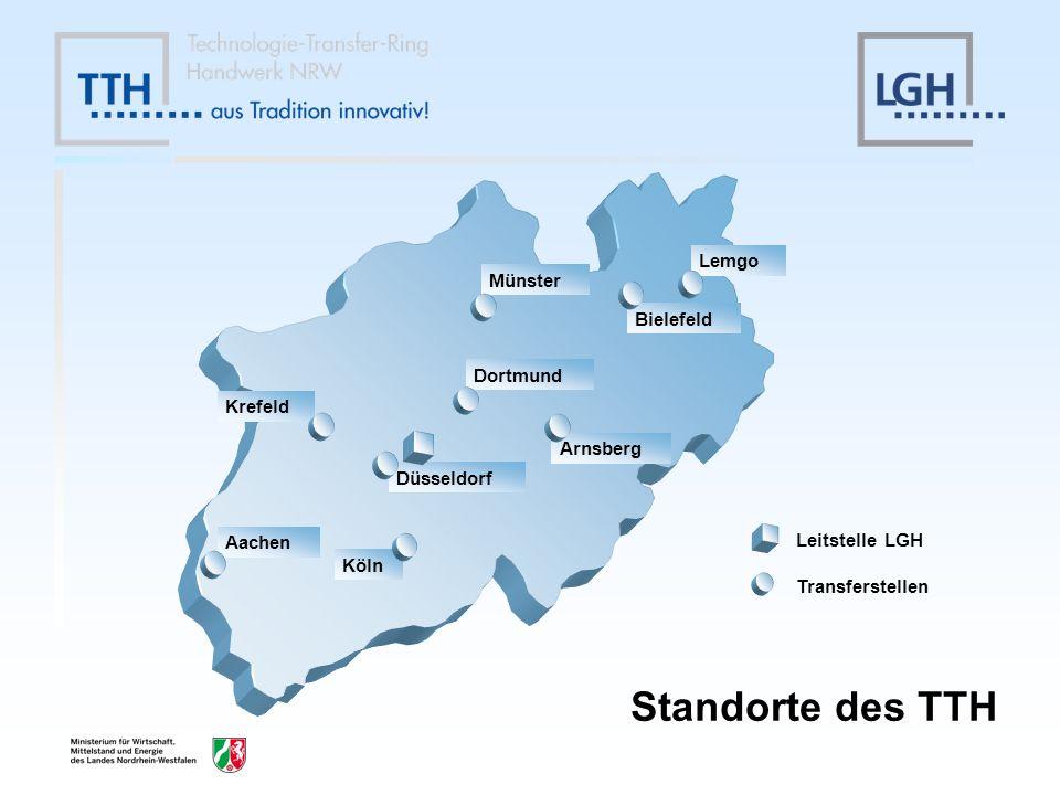 Standorte des TTH Lemgo Münster Bielefeld Dortmund Krefeld Arnsberg