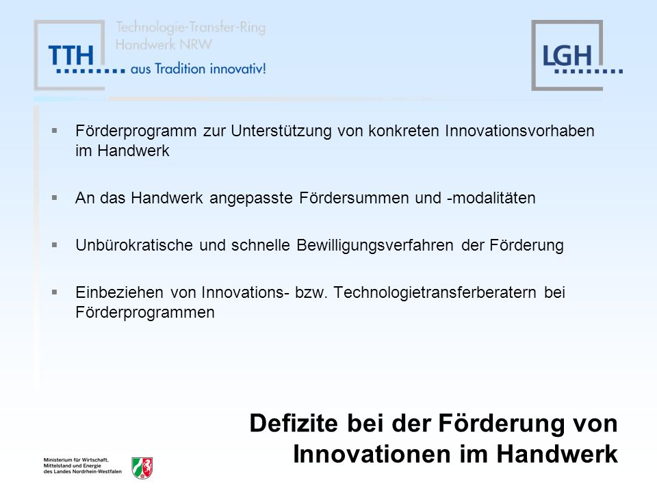 Defizite bei der Förderung von Innovationen im Handwerk