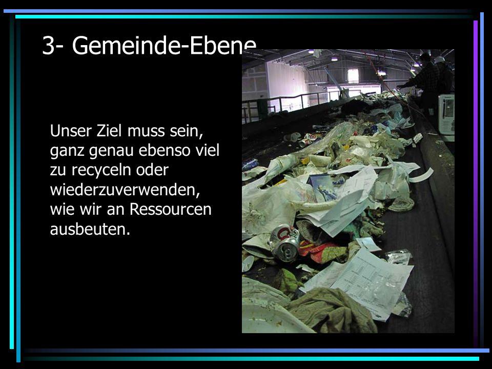 3- Gemeinde-Ebene Unser Ziel muss sein, ganz genau ebenso viel zu recyceln oder wiederzuverwenden, wie wir an Ressourcen ausbeuten.