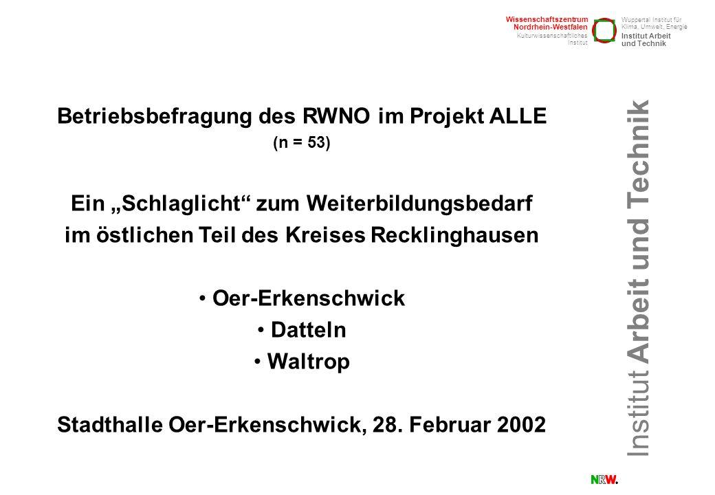 Betriebsbefragung des RWNO im Projekt ALLE