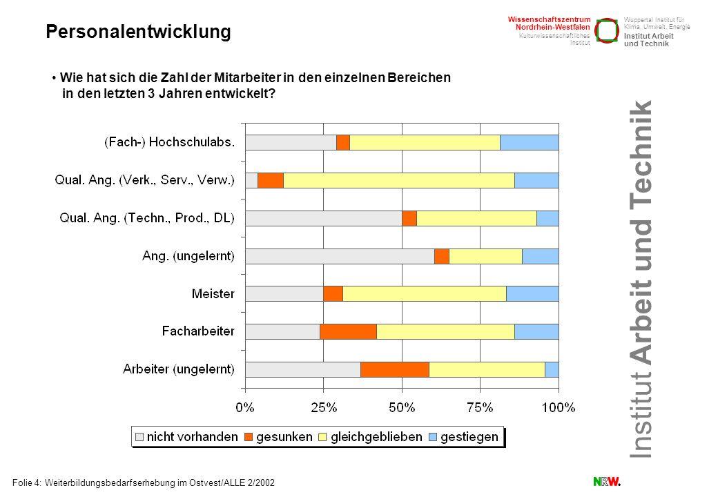 Personalentwicklung Wie hat sich die Zahl der Mitarbeiter in den einzelnen Bereichen in den letzten 3 Jahren entwickelt