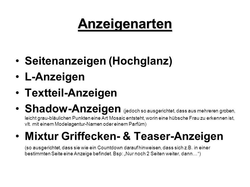 Anzeigenarten Seitenanzeigen (Hochglanz) L-Anzeigen Textteil-Anzeigen