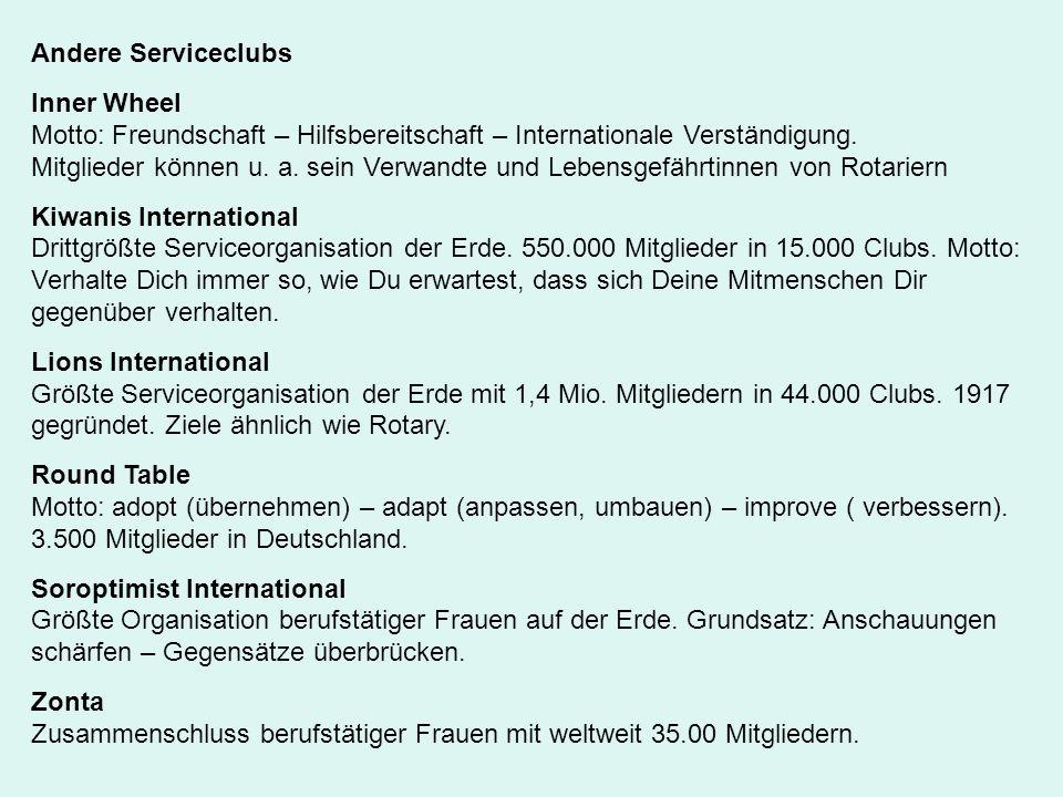 Andere Serviceclubs Inner Wheel. Motto: Freundschaft – Hilfsbereitschaft – Internationale Verständigung.
