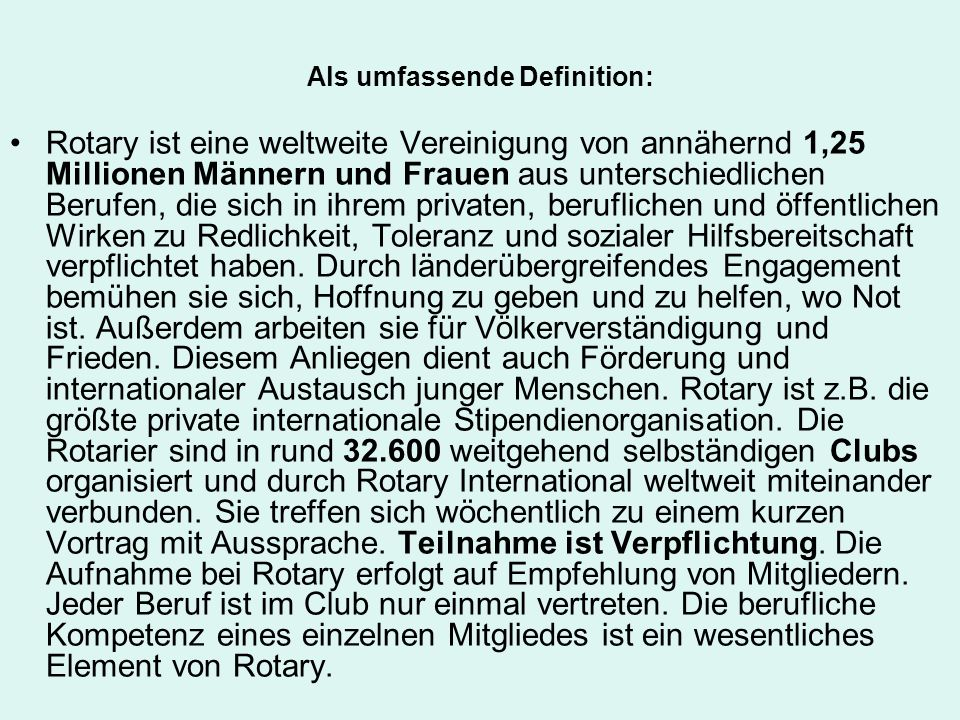 Als umfassende Definition: