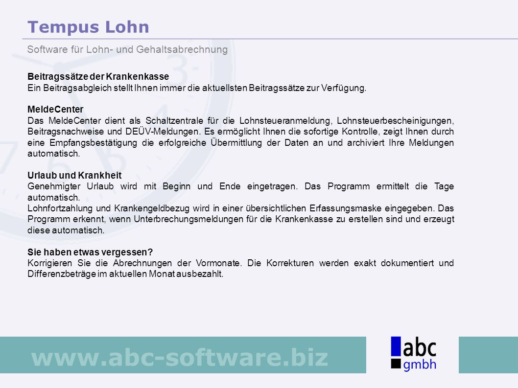 Tempus Lohn Software für Lohn- und Gehaltsabrechnung