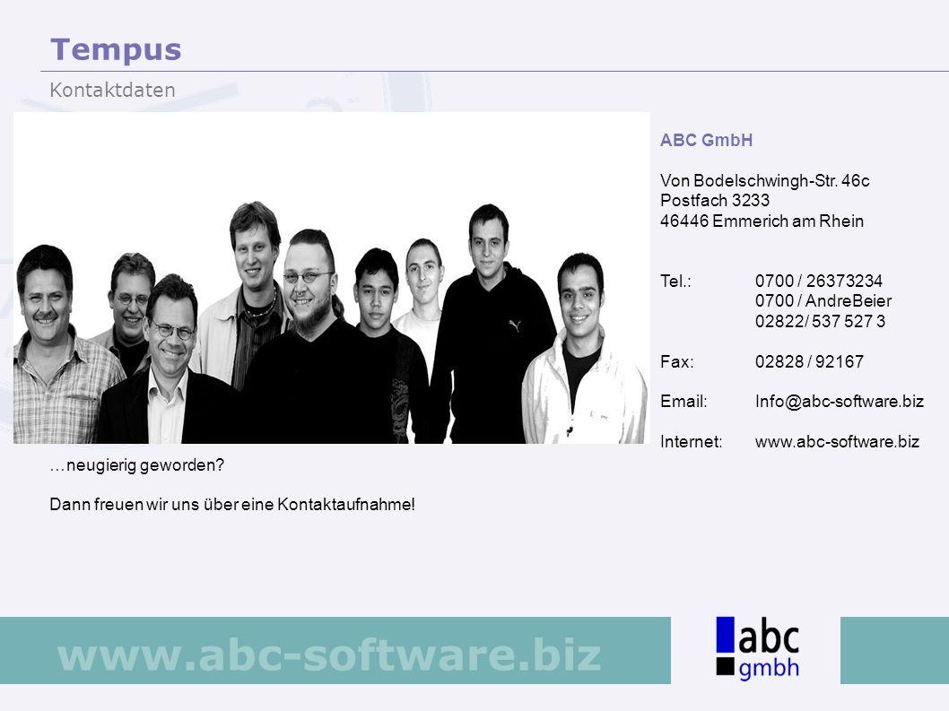 Tempus Kontaktdaten ABC GmbH Von Bodelschwingh-Str. 46c Postfach 3233