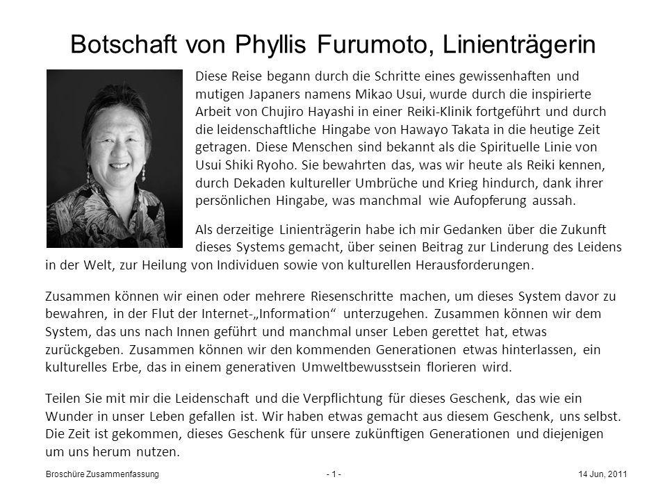 Botschaft von Phyllis Furumoto, Linienträgerin