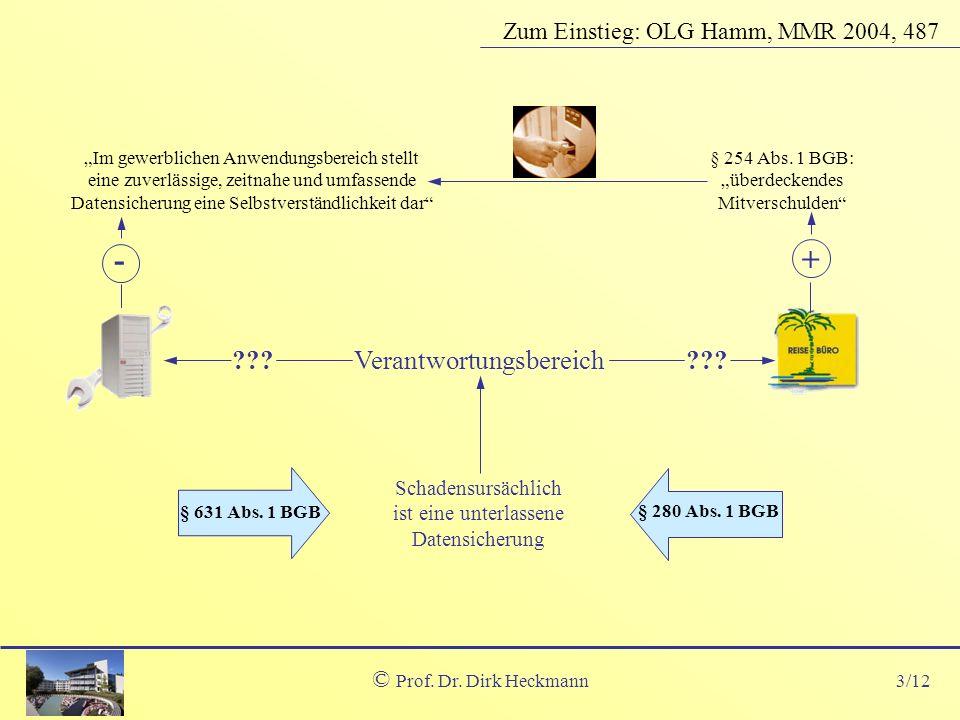 - + Verantwortungsbereich Zum Einstieg: OLG Hamm, MMR 2004, 487