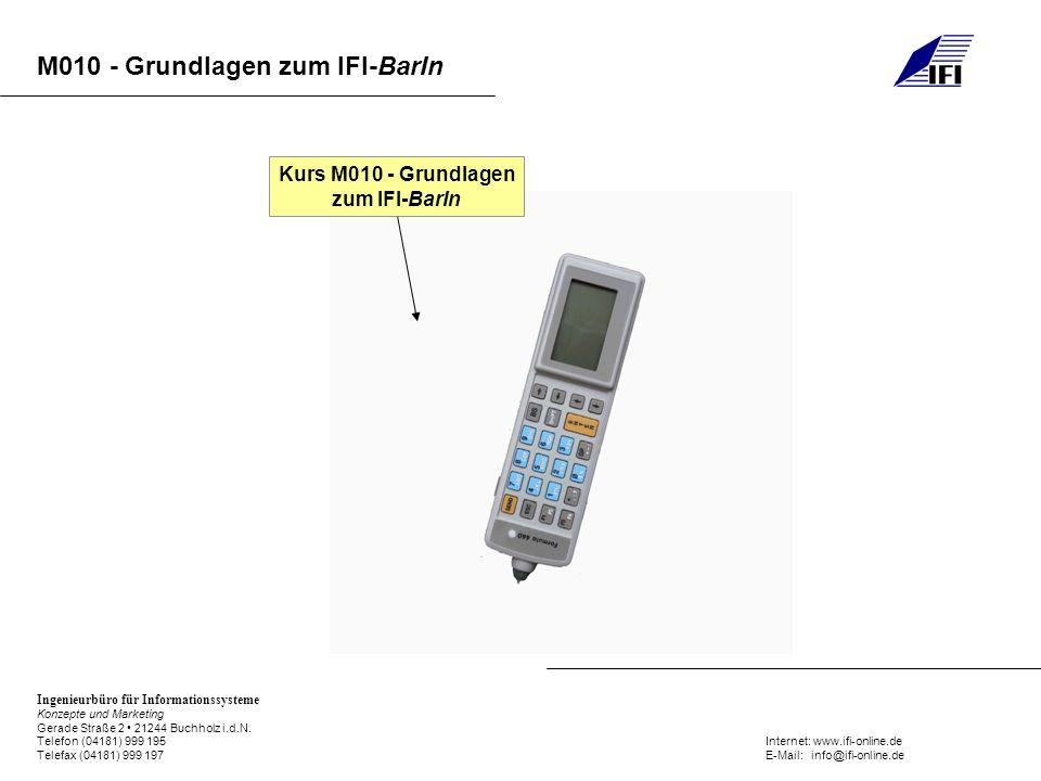 Kurs M010 - Grundlagen zum IFI-BarIn