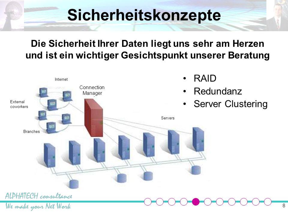 Sicherheitskonzepte Die Sicherheit Ihrer Daten liegt uns sehr am Herzen und ist ein wichtiger Gesichtspunkt unserer Beratung.