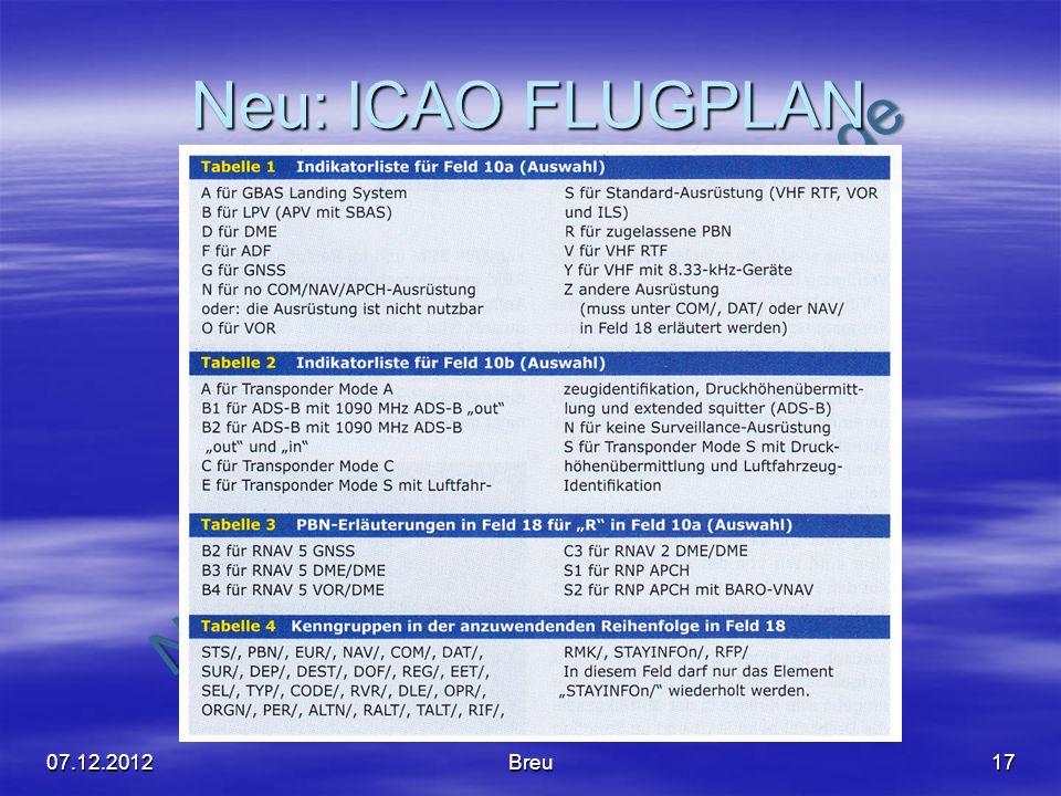 Neu: ICAO FLUGPLAN 07.12.2012 Breu