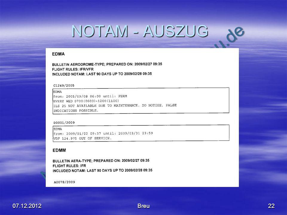 NOTAM - AUSZUG 07.12.2012 Breu