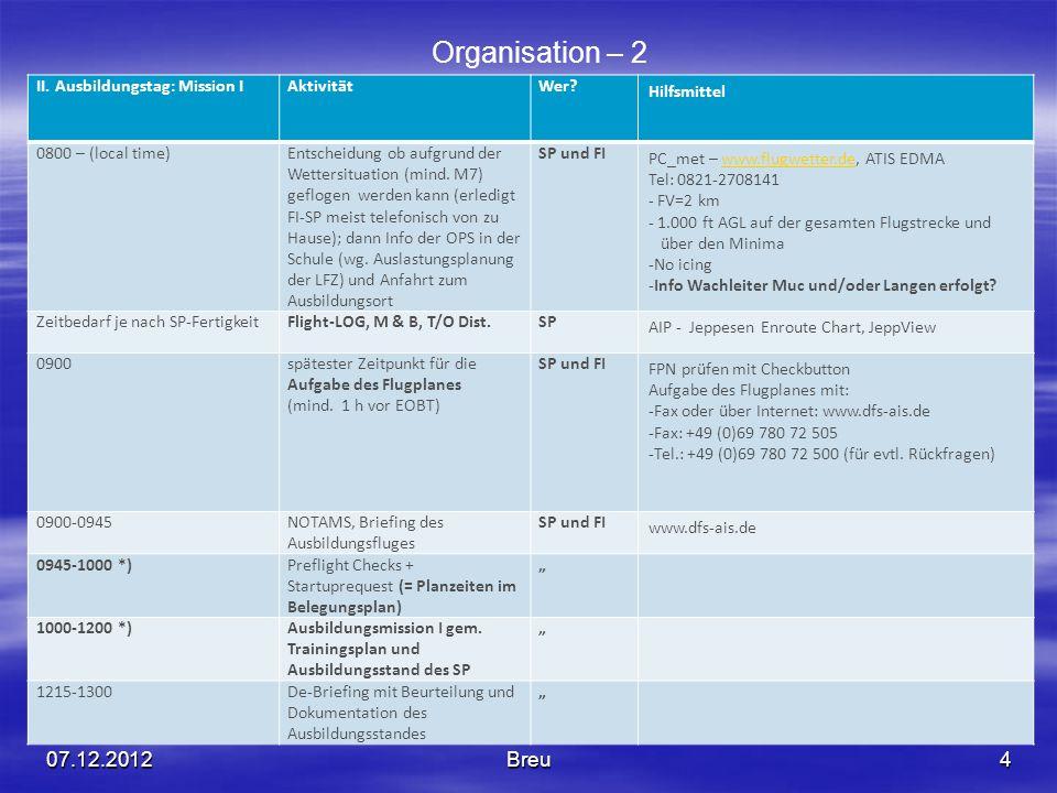 Organisation – 2 07.12.2012 Breu II. Ausbildungstag: Mission I