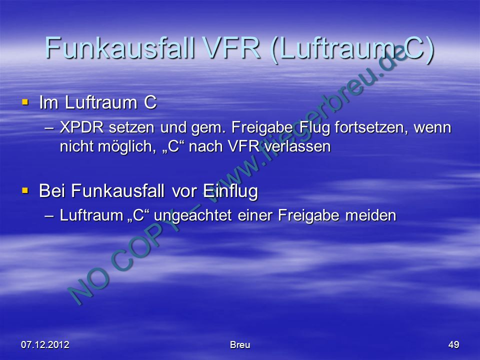 Funkausfall VFR (Luftraum C)