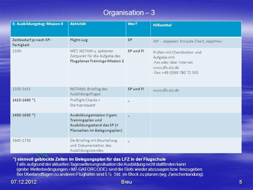 Organisation – 3 07.12.2012 Breu II. Ausbildungstag: Mission II