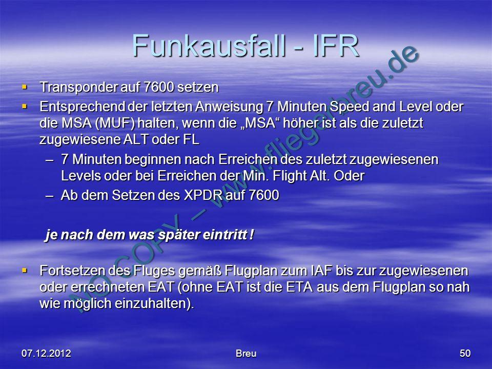 Funkausfall - IFR Transponder auf 7600 setzen