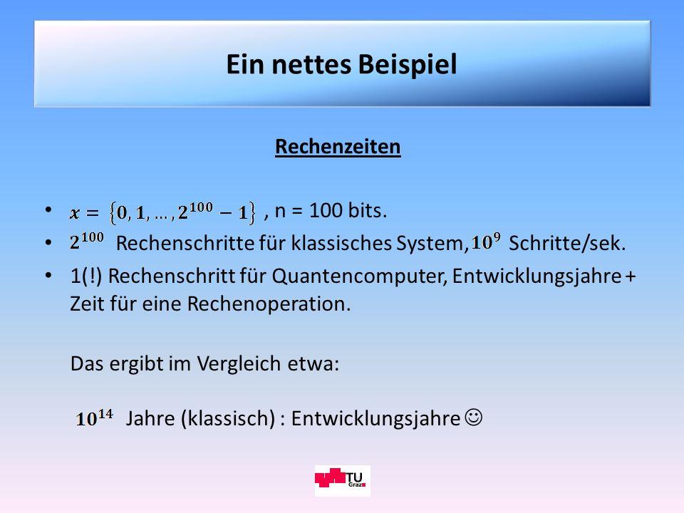 Ein nettes Beispiel Rechenzeiten , n = 100 bits.