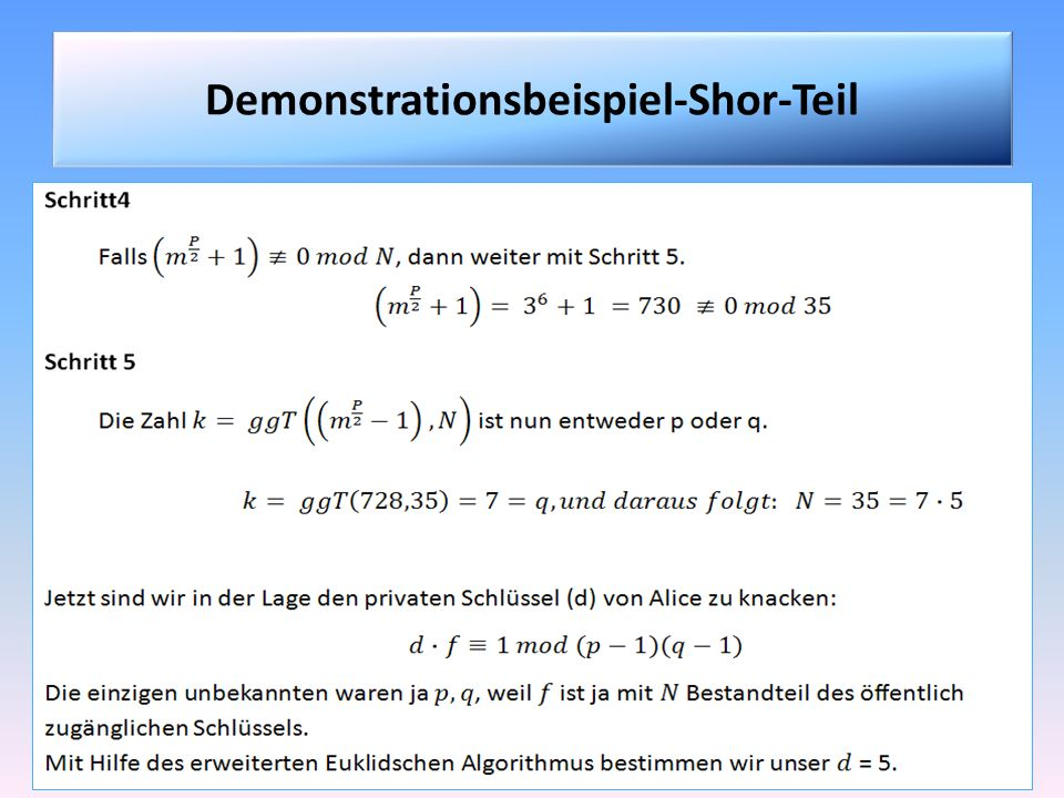 Demonstrationsbeispiel-Shor-Teil