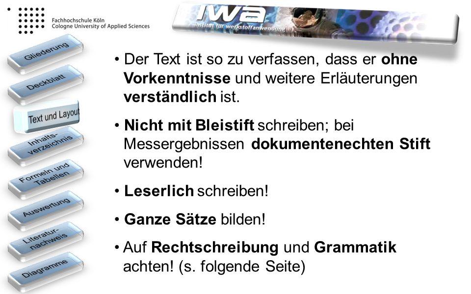Auf Rechtschreibung und Grammatik achten! (s. folgende Seite)