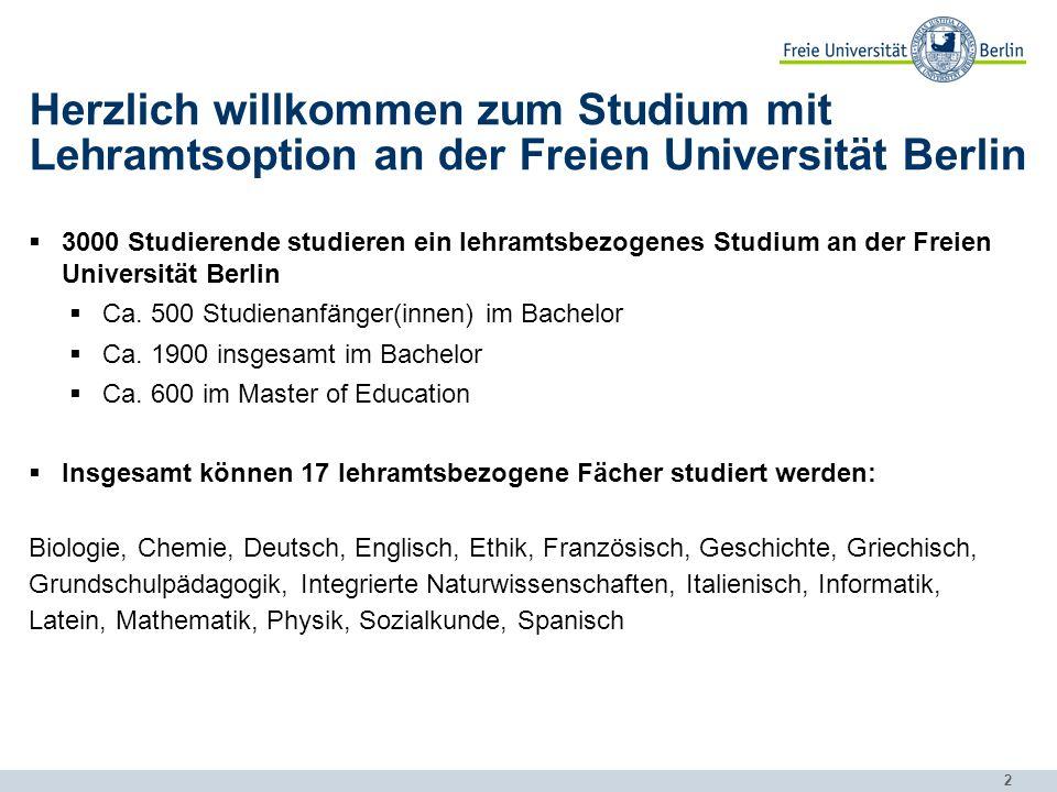 Herzlich willkommen zum Studium mit Lehramtsoption an der Freien Universität Berlin