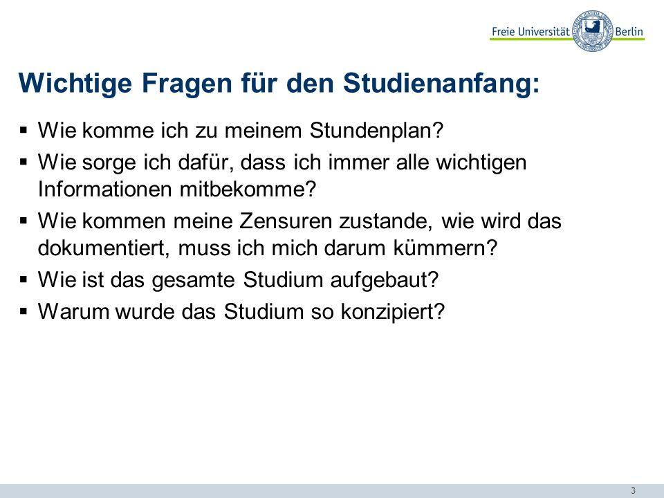 Wichtige Fragen für den Studienanfang: