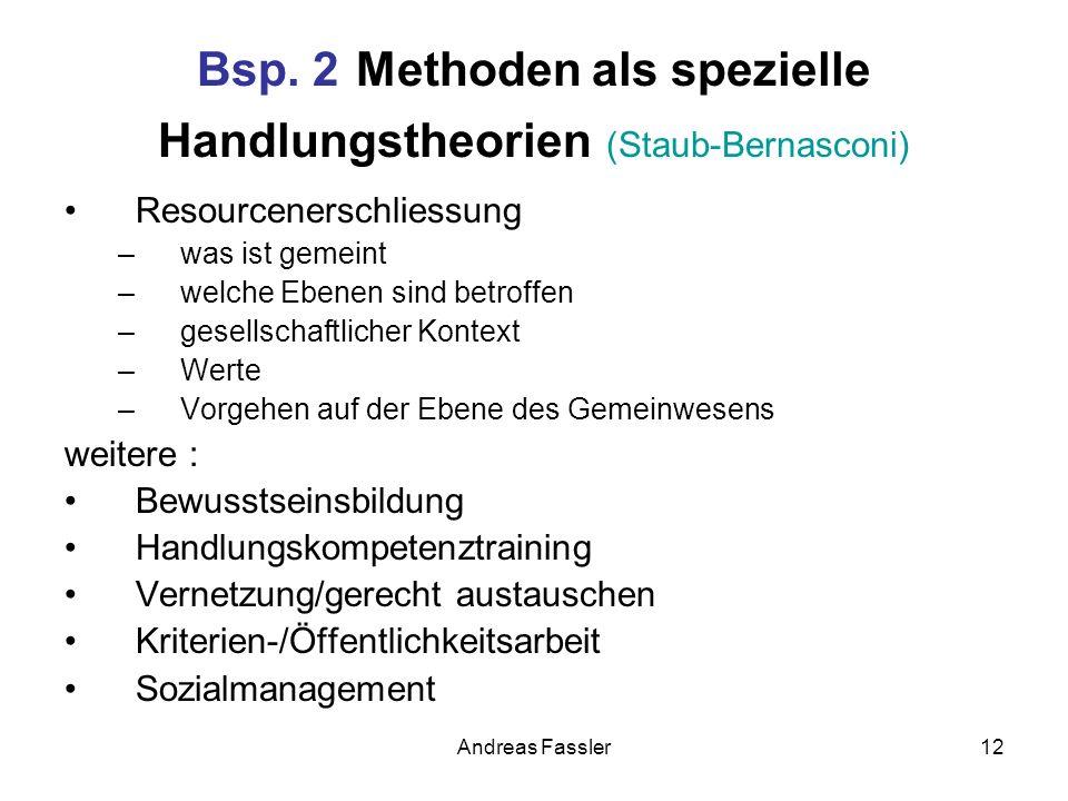 Bsp. 2 Methoden als spezielle Handlungstheorien (Staub-Bernasconi)