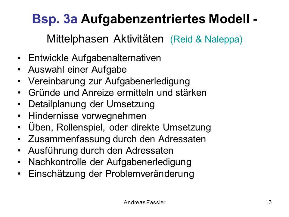 Bsp. 3a Aufgabenzentriertes Modell - Mittelphasen Aktivitäten (Reid & Naleppa)
