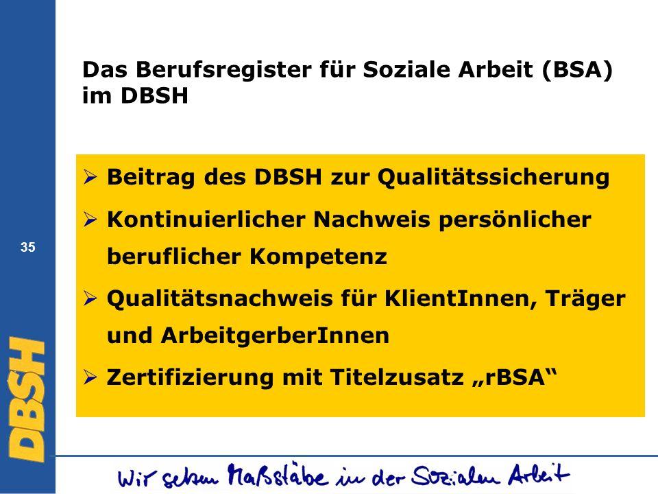 Das Berufsregister für Soziale Arbeit (BSA) im DBSH