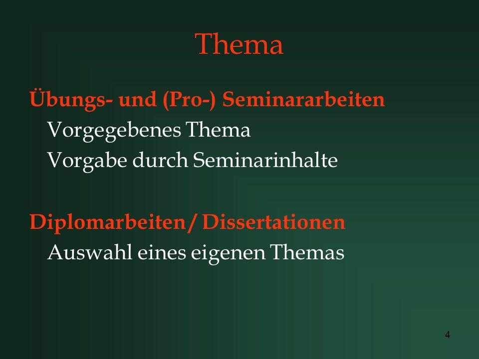 Thema Übungs- und (Pro-) Seminararbeiten Vorgegebenes Thema