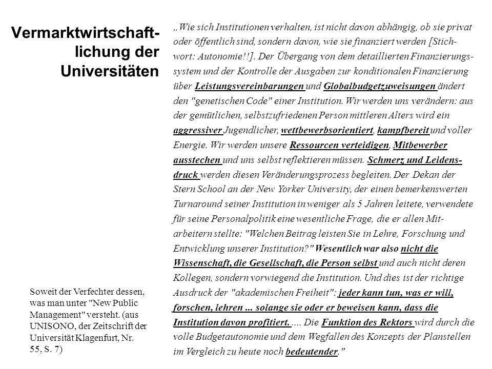 Vermarktwirtschaft- lichung der Universitäten