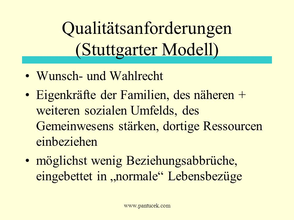 Qualitätsanforderungen (Stuttgarter Modell)