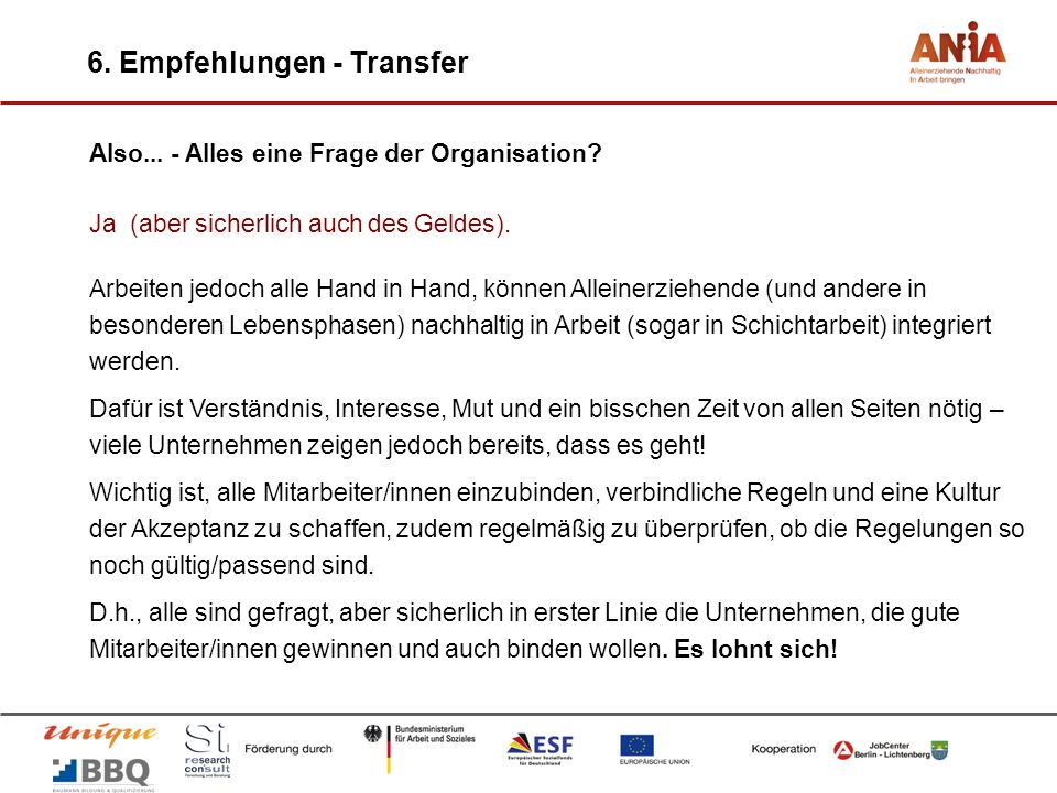 6. Empfehlungen - Transfer