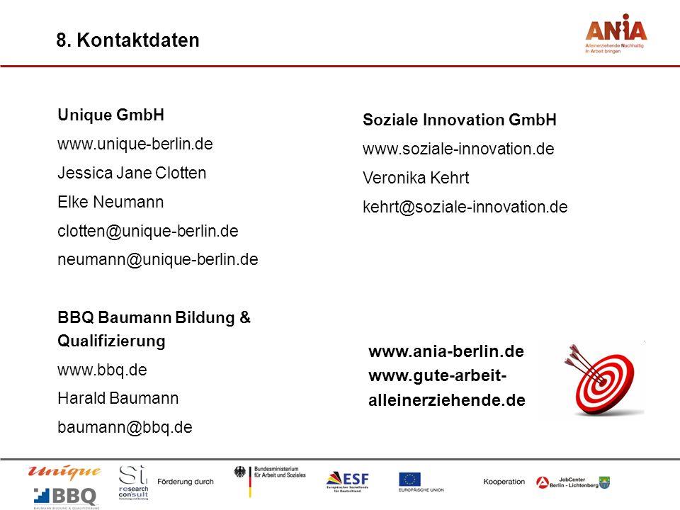 8. Kontaktdaten www.ania-berlin.de www.gute-arbeit-alleinerziehende.de