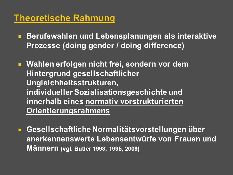 Theoretische Rahmung Berufswahlen und Lebensplanungen als interaktive Prozesse (doing gender / doing difference)