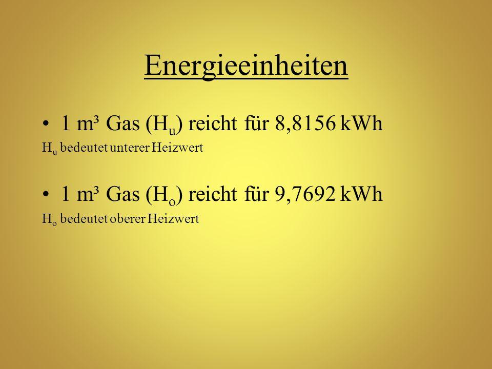 Energieeinheiten 1 m³ Gas (Hu) reicht für 8,8156 kWh