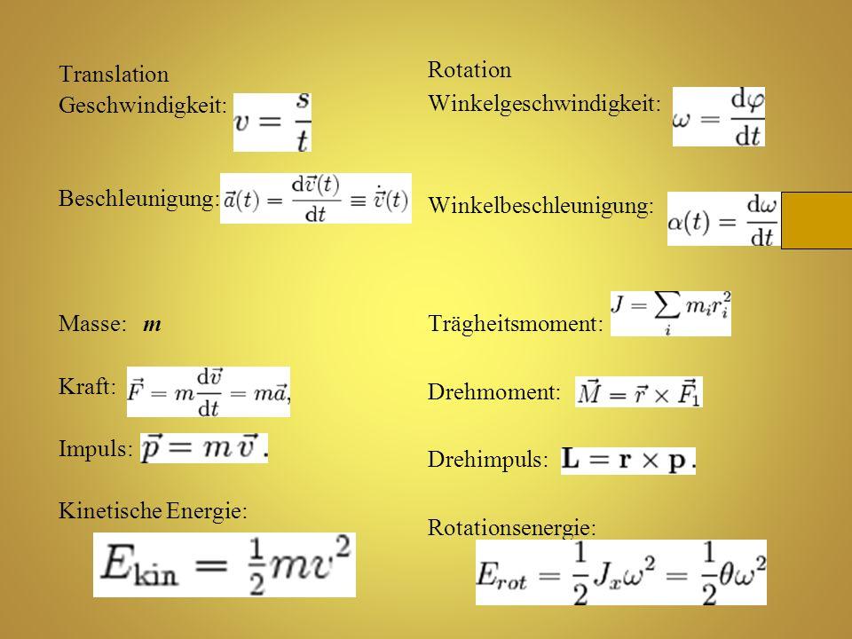 Rotation Winkelgeschwindigkeit: Winkelbeschleunigung: Trägheitsmoment: Drehmoment: Drehimpuls: Rotationsenergie: