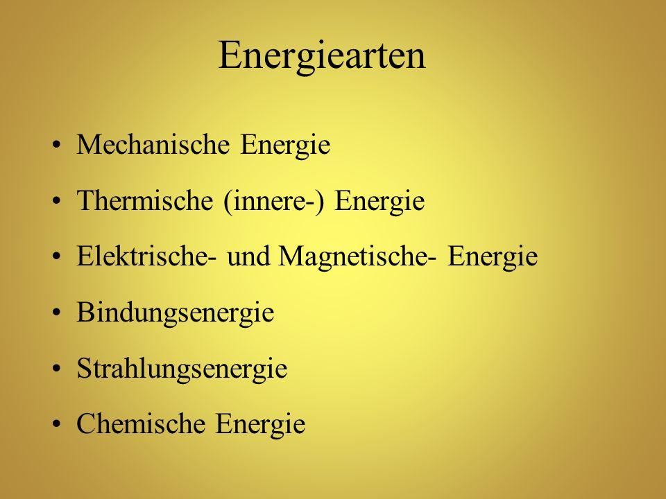 Energiearten Mechanische Energie Thermische (innere-) Energie