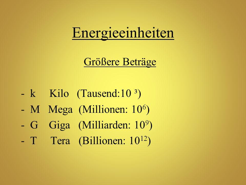 Energieeinheiten Größere Beträge k Kilo (Tausend:10 ³)