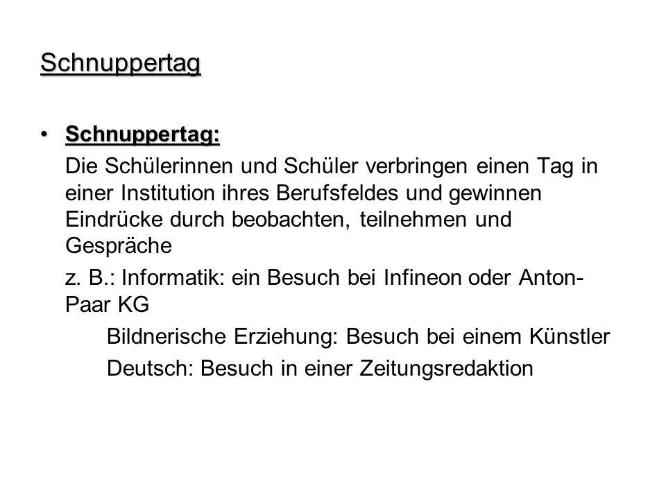 Schnuppertag Schnuppertag: