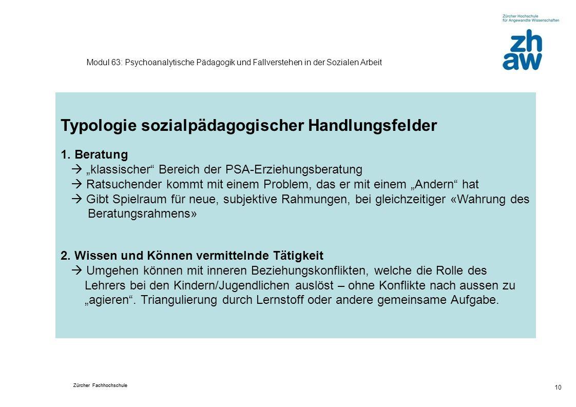 Typologie sozialpädagogischer Handlungsfelder
